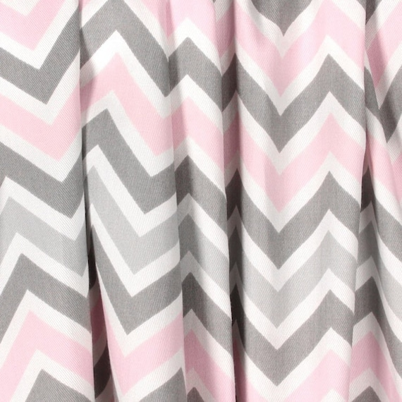 Gray Pink Nursery: Light Baby Pink Gray Curtains Nursery Curtain Panels Chevron