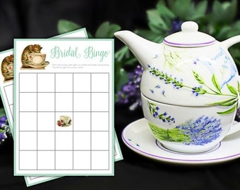 Bridal Shower Tea Bingo - Tea Party Bridal Bingo Game - Download, Print, and Party!