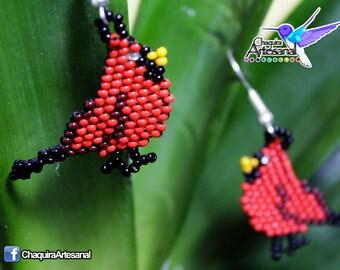 Bird Cardinals-Earring earrings bird Cardinal-earrings handmade-earrings handmade mexicanos-chaquira