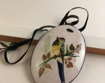 Vintage hand painted ceramic bird  pendant on black ribbon necklace