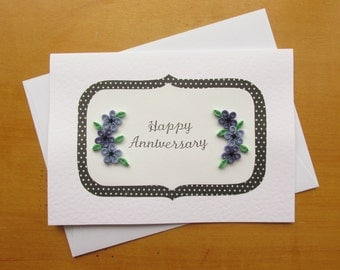 Anniversary Cards, Quilled Cards, Quilling Cards, Quilled Flowers, Greetings Cards, Anniversaries, Purple Flowers, Silver Anniversary