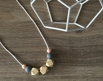 Geometric Silicone and Timber necklace