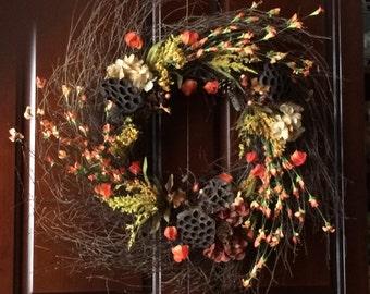 Wispy Grapevine Wreath, Fall GrapeVine Wreath, Autumn Graoevine Wreath, Rustic Grapevine Wreath, Lotus Pod Grapevine Wreath