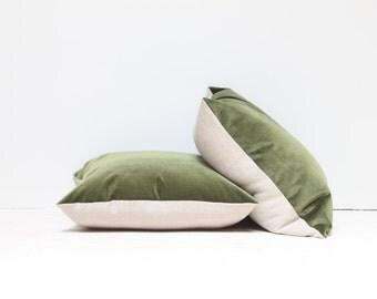 Green Velvet Throw Pillow