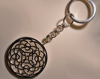 Key ring in Sterling Silver 925 rose lace pattern