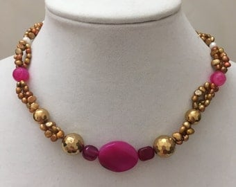 Gold and Hot Pink NeckLace, Pearl and Bead Necklace