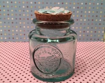 Blue glass jar
