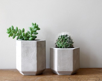 Set of Two Hexagon Cement Planters perfect for a Cactus or Succulent Plants // Concrete Plant Pot - Handmade