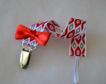 Pacifier Clip | Pacifier Strap | Toy Strap | Ready to Ship |Red Silver Pacifier Strap | Binky Clip| Baby Gift