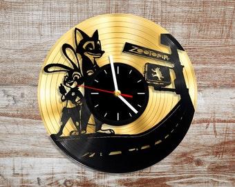 Zootopia vinyl record wall clock. Gold vinyl record