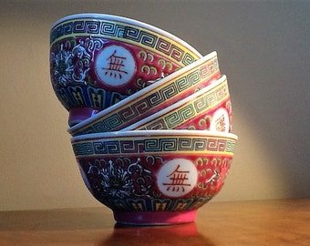 4 beautiful porcelaine rice bowl with asian pattern