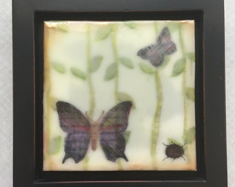 Butterflies and a lady bug in a forest. Encaustic beeswax painting, original painting