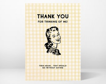 thank you card, greeting card, funny, whimsical, printable, 5x7, instant download, digital