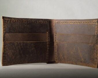 Rustic Full Grain Leather Wallet //  Insane patina   //  Patina  //  6 card slots