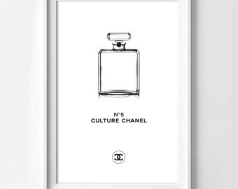 Poster poster of the perfume culture chanel n5 in white, original and feminine decoration for the House.