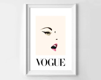 Poster poster gloss vogue art nude, pink powder, original decoration for the House.