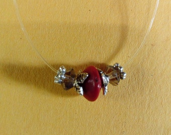 Smoked Crystal Necklace and Red seed