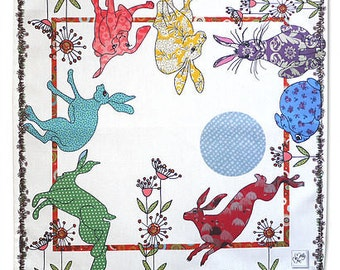 Hare serviettes-Cotton printed Napkins- Hares dancing (in sets of 2) Rabbit fun. Beautiful design by MollyMac 18 inch square napkin to gift