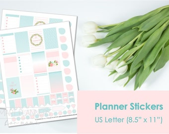"Printable planner Stickers, Mint and coral colors. US Letter Size (8.5""x11""), Portrait. Floral digital stickers. Instant download."