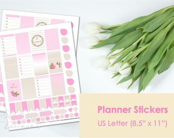 """Planner Stickers, printable, pink and cream colors. US Letter Size (8.5""""x11""""), Portrait. Floral digital stickers. Instant download."""