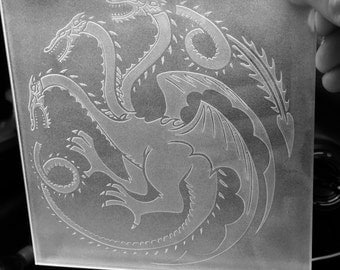 Game Of Thrones Engraved Glass Tile