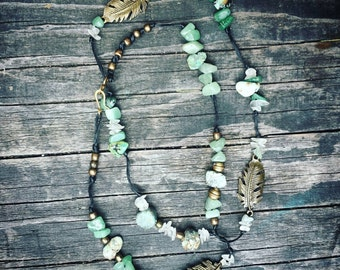 Earthy, Green, Turquoise, Jadeite, Glass, Brass, Feather, Beaded, Necklace, Wanderlust, Yoga, Gypsy, Boho, Healing, Natural, Stone, Gem