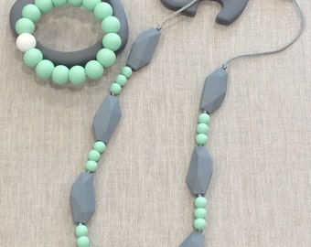 Quinn - Stormy Grey Gemstone and Mint Silicone Teething Necklace
