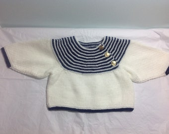 Hand knit shortie baby sweater