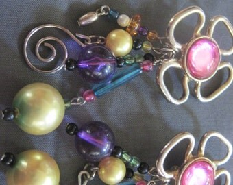 Mardi Gras style Earrings  Clip Vintage  pink gold flower swirls
