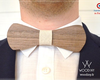 """NEW Wooden Bow Tie - """"Copacabana"""" Handmade with Wood - by Woodiny - Gift for men, Groomsmen, Wedding, Birthday - White Cotton Ribbon"""