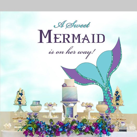 mermaid baby shower backdrop little mermaid under the sea mermaid