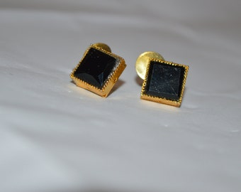 Square spinel gold plated stud fine gemstone jewelry