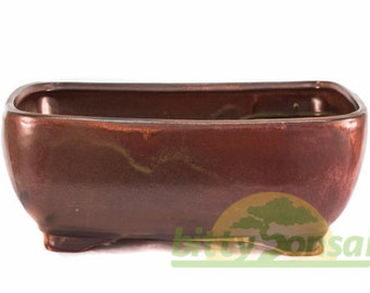 Red Glazed 10 inch Bonsai Pot - Item P10RE2RR