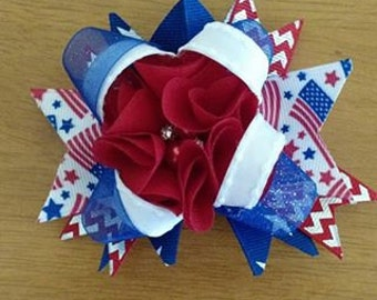 "5"" Patriotic 4th of July Hair bow"