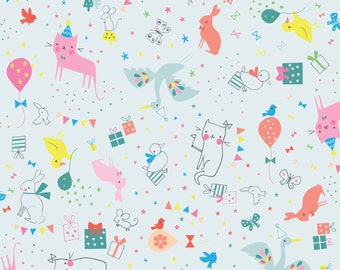 Cute Animal Fabric | Birthday Party Decor | Party Animal Blue | Kitty Cats | Pink Bunnies | Birds | Balloons | Cute Fabric | Lizzie Mackay