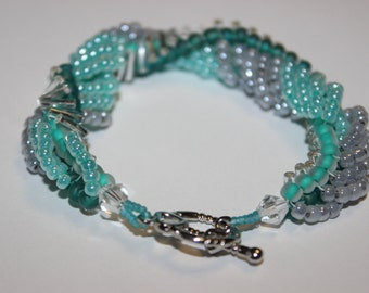 Twisted Beaded Bracelet, in teal/green and silver