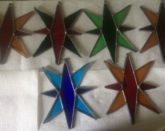 Lot of 6 Vintage Christmas Star Stained Glass Suncatchers