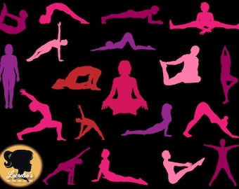 Yoga silhouette Svg - Yoga postures Svg - (zipped .eps .pdf .dxf .svg and .studio file) vector cutting files