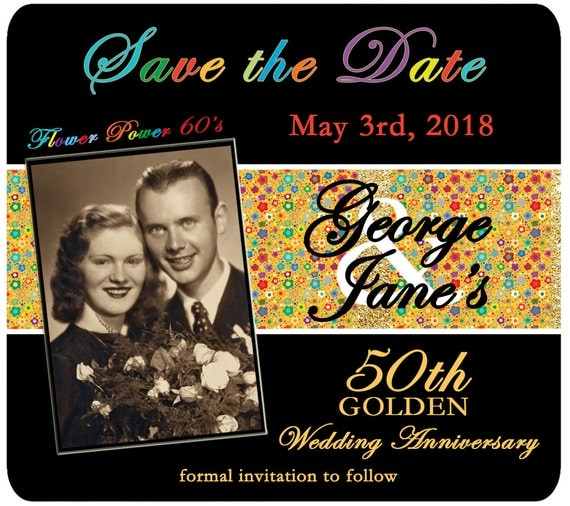 Golden Save The Date For Wedding Invitation Wedding: Flower Power 50th Golden Wedding By Goldn50thAnniversary