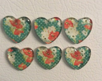 Teal floral and polka dot pattern heart shaped glass magnets, set of 6