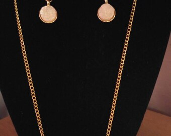 White Crystal Gold Necklace and Earring Set
