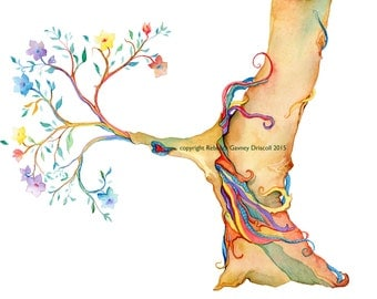 Whimsical tree print  with 11 x 14 matte rainbow colors