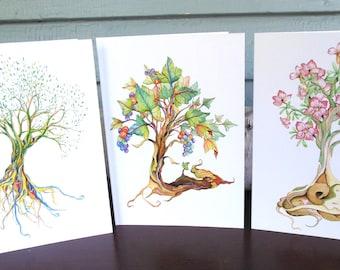 Tree illustration whimsical 5 x 7 greeting cards desert rose, tree of life, grapevine