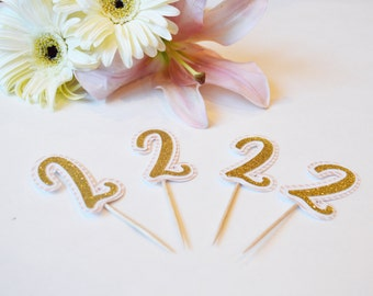 Pink gold number cupcake toppers // pink gold glitter cupcake toppers // age cupcake toppers // food picks // girls birthday cupcake toppers