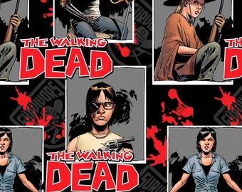 Skybound The Walking Dead Fabric, Comic Fabric: The Walking Dead Characters Blocks - Ready For War 100% cotton fabric by the yard (SC301)
