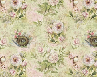 "Floral Fabric, Rose Fabric: Vintage style Love Impressions Floral by Rose Divine 100% cotton Fabric by the Yard 36""x44"" (N462)"
