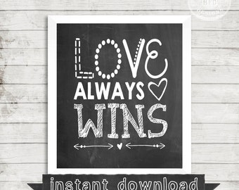 DIY PRINTABLE, Love Always Wins, Love, Instant  Download, Printable, Chalk Print, Words, Heart, Happy, Positive, Family, Hearts, Print