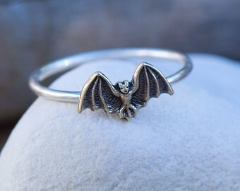 Small Bat Sterling Silver Stacking Ring with Antiqued Brass Detail
