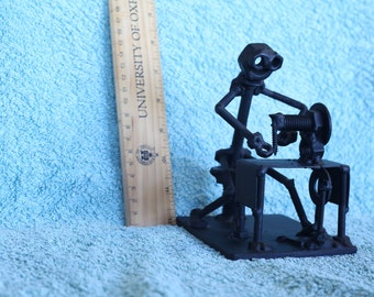 Sewing Lady Figurine. Nuts and Bolts Metal Artwork. Sewing Lady Statue.