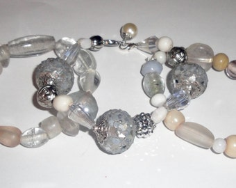 White and Silver Glass Handmade Bracelet